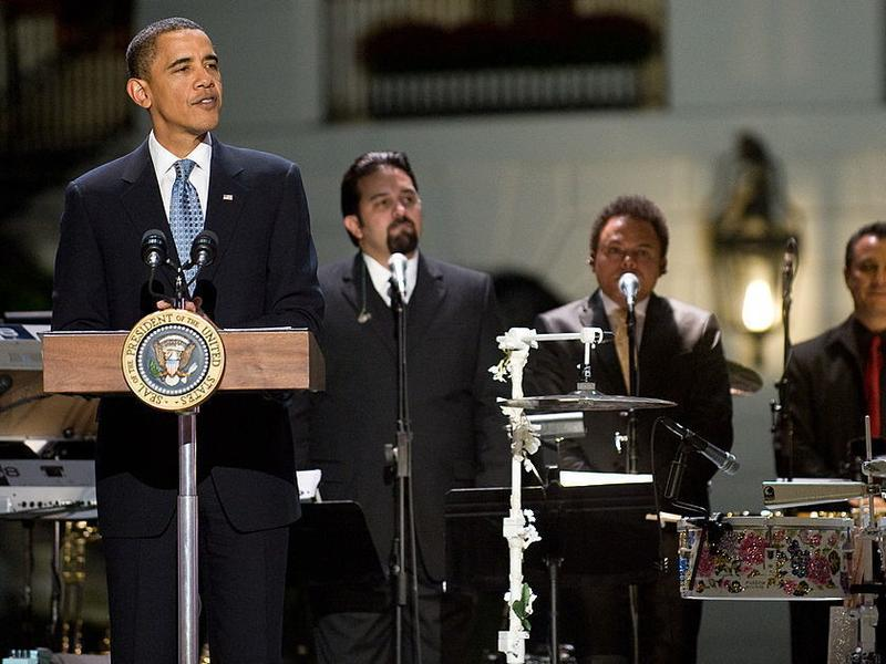"""President Barack Obama speaks during a taping of """"In Performance at the White House: Fiesta Latina,"""" a concert celebrating Hispanic musical heritage, at the White House in October 2009."""