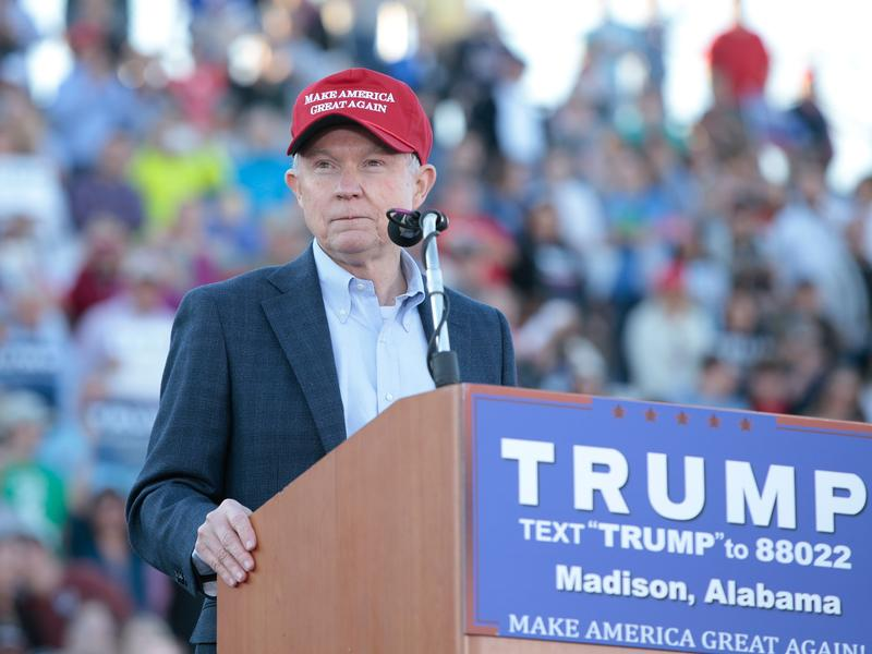 Sen. Jeff Sessions, Donald Trump's nominee for attorney general, endorses Trump for president on Feb. 28, 2016, in Madison, Ala.