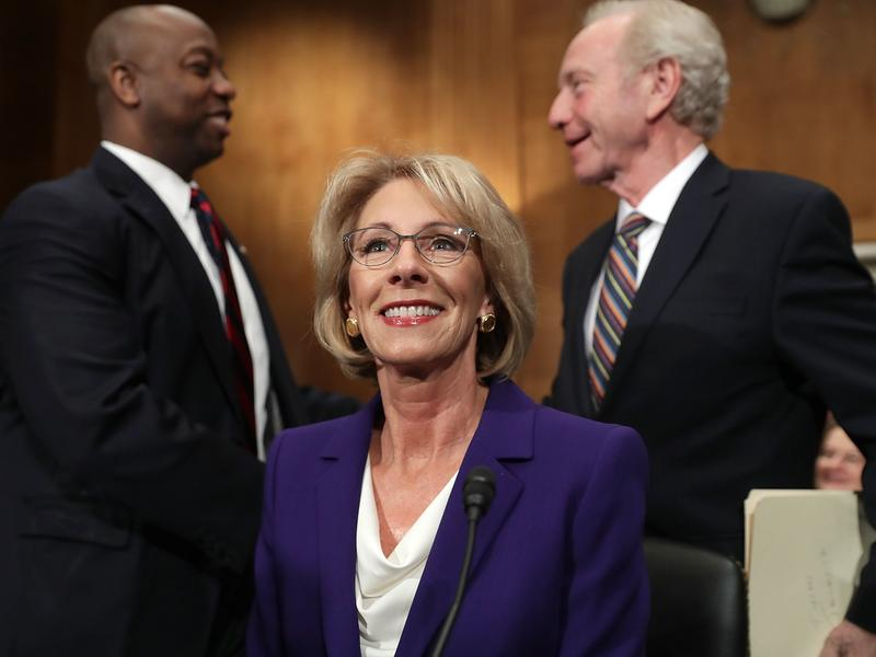 Betsy DeVos prepares to testify at her confirmation hearing.