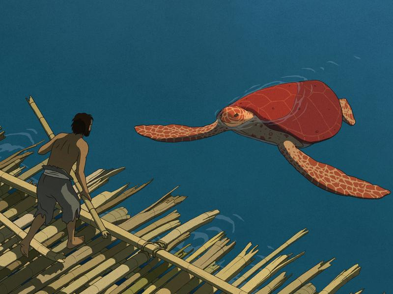 A castaway meets his reptilian — adversary? — in <em>The Red Turtle</em>.