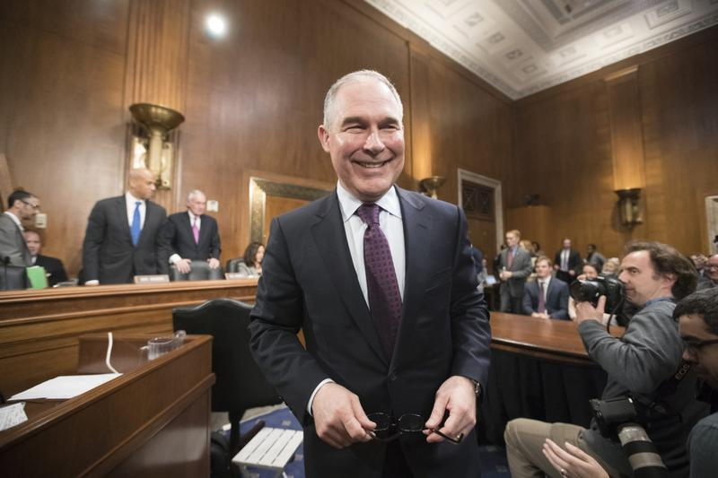 Environmental Protection Agency Administrator-designate Scott Pruitt arrives on Capitol Hill in Washington, Wednesday, Jan. 18, 2017, to testify at his confirmation hearing before the Senate Environment and Public Works Committee. (J. Scott Applewhite/AP)