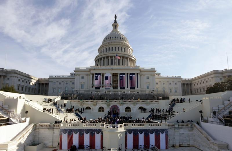 The west front of the U.S. Capitol is decorated during the dress rehearsal for the Inauguration, Sunday, Jan. 14, 2017 in front of the U.S. Capitol in Washington. (Alex Wong/Getty Images)