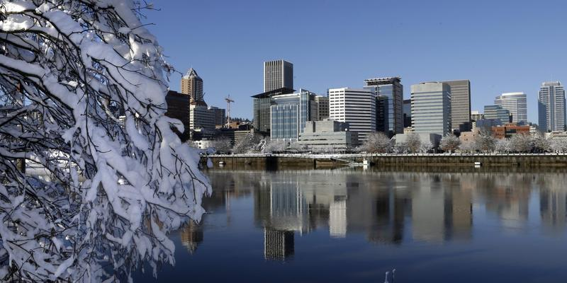 Snow and ice cling to tree limbs as downtown Portland, Ore., is reflected in the Willamette River under blue skies, Thursday, Jan. 12, 2017. (Don Ryan/AP)