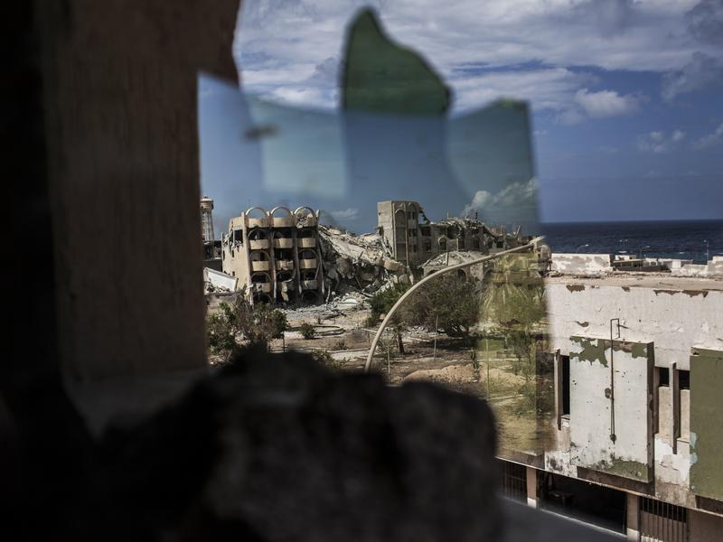 The Pentagon says many of the ISIS fighters targeted in Wednesday's strike escaped from the former ISIS stronghold of Sirte, shown here during fighting in September.