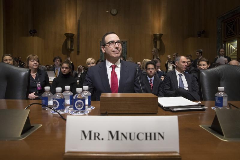 Treasury Secretary-designate Stephen Mnuchin arrives on Capitol Hill in Washington, Thursday, Jan. 19, 2017, to testify at his confirmation hearing before the Senate Finance Committee. (J. Scott Applewhite/AP)