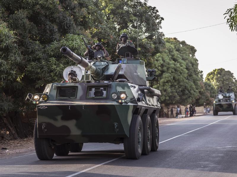 A convoy of Senegalese soldiers en route toward the Gambia border with Senegal on Thursday near Karang, Senegal.