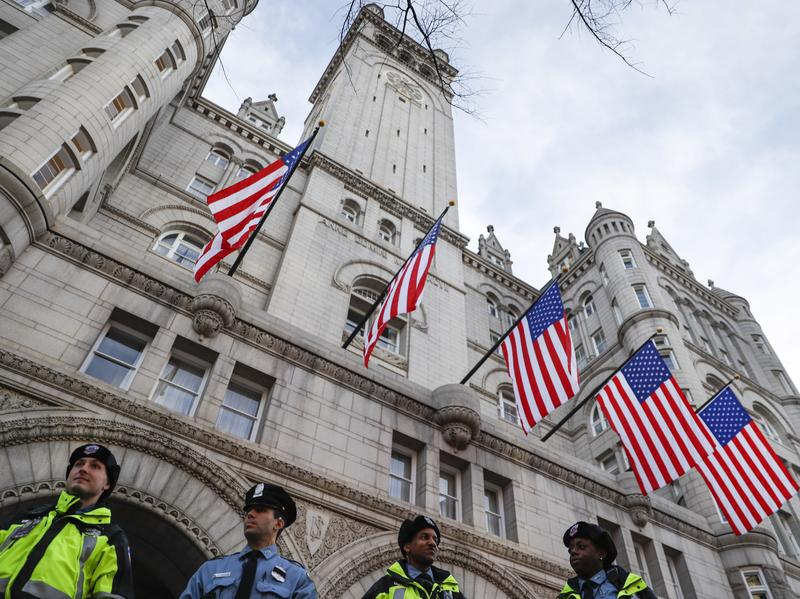 Police stand guard outside the Trump International Hotel on Pennsylvania Avenue in Washington, D.C., on Thursday ahead of Friday's presidential inauguration.