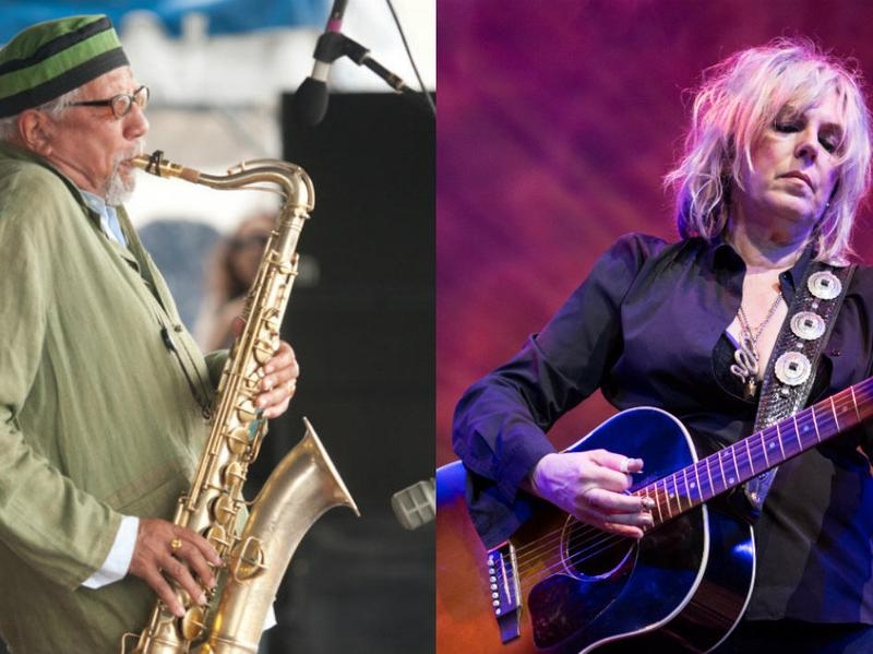 """Charles Lloyd (left) and Lucinda Williams recorded a live version of """"Masters Of War"""" at the Lobero Theatre in Santa Barbara, Calif., on Nov. 28, 2016."""