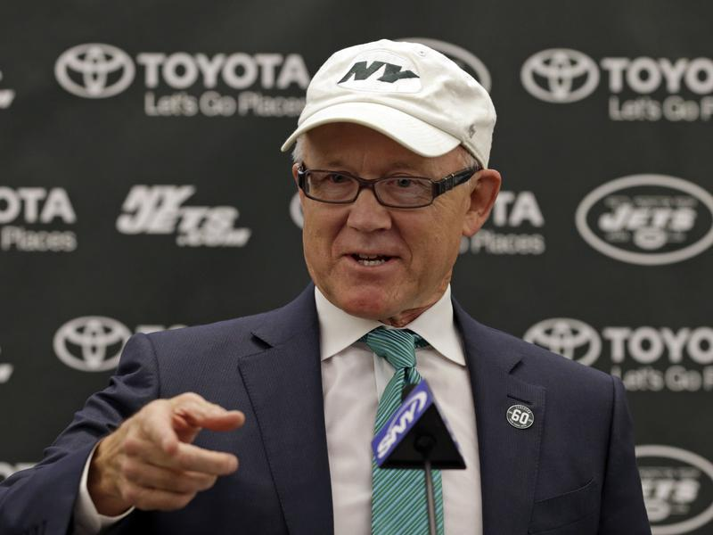 New York Jets owner Woody Johnson speaks during a press conference in April at the team's practice facility in New Jersey.