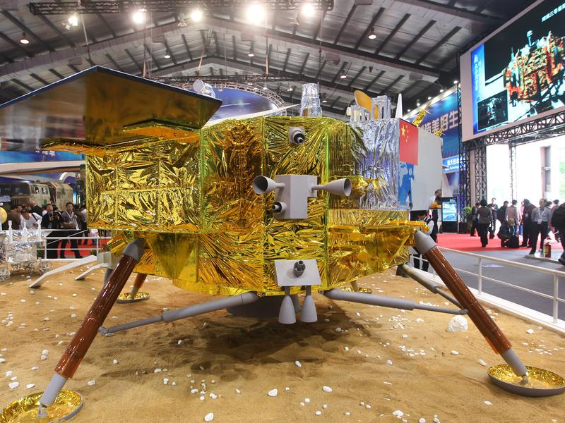 China's Chang'e-5 craft, seen here at an exhibition in 2014, will carry out a lunar soft landing, according to the country's space agency.