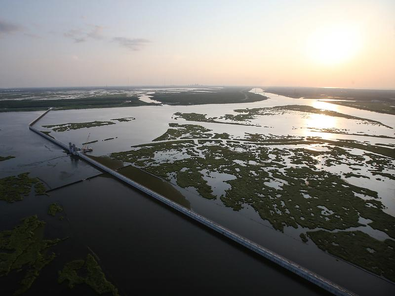 Wetlands and marshlands that once protected New Orleans and the surrounding areas from storm surge have been depleted over the years. Here, the $1.1 billion Lake Borgne Surge Barrier outside New Orleans in 2015.