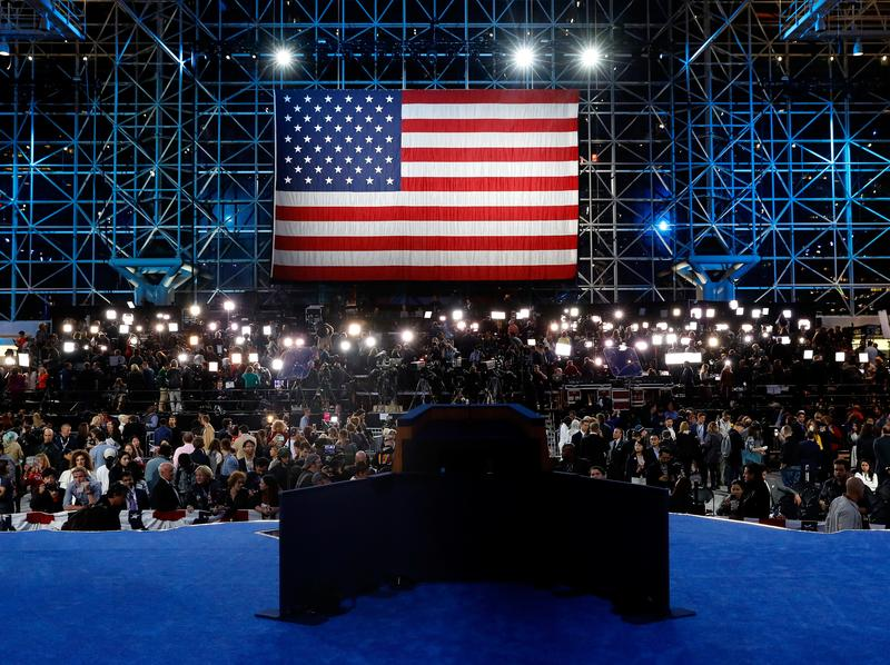 The empty stage for Democratic presidential nominee Hillary Clinton on election night at the Jacob K. Javits Convention Center.