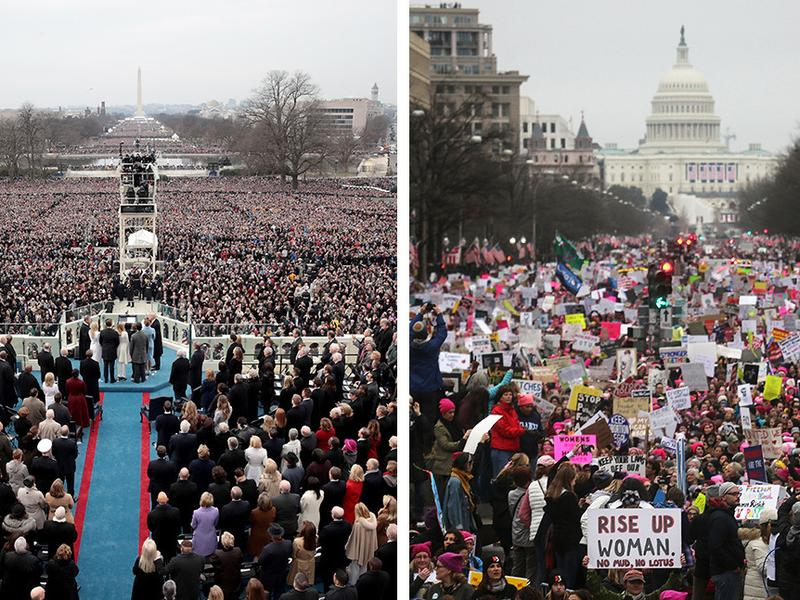 On the left, President Trump takes the oath of office at the U.S. Capitol on Jan. 20. On the right, protesters attend the Women's March on Washington the next day. Crowd estimates for both events were in the 100,000s but varied considerably.