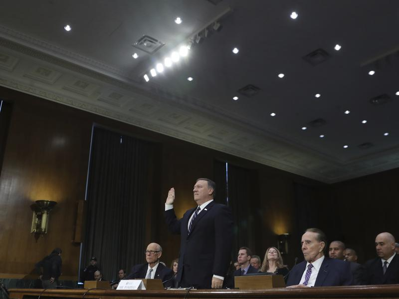 Rep. Michael Pompeo, R-Kan., is sworn in on Capitol Hill Jan. 12, before testifying at his confirmation hearing as CIA director before the Senate Intelligence Committee. Pompeo was confirmed by the full Senate Monday night.