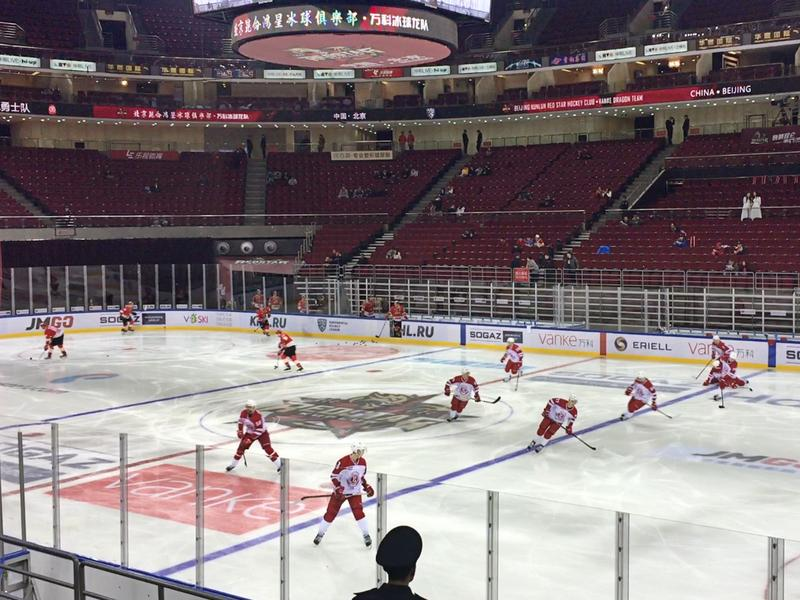The Kunlun Red Stars, China's hockey team, warm up before a game.