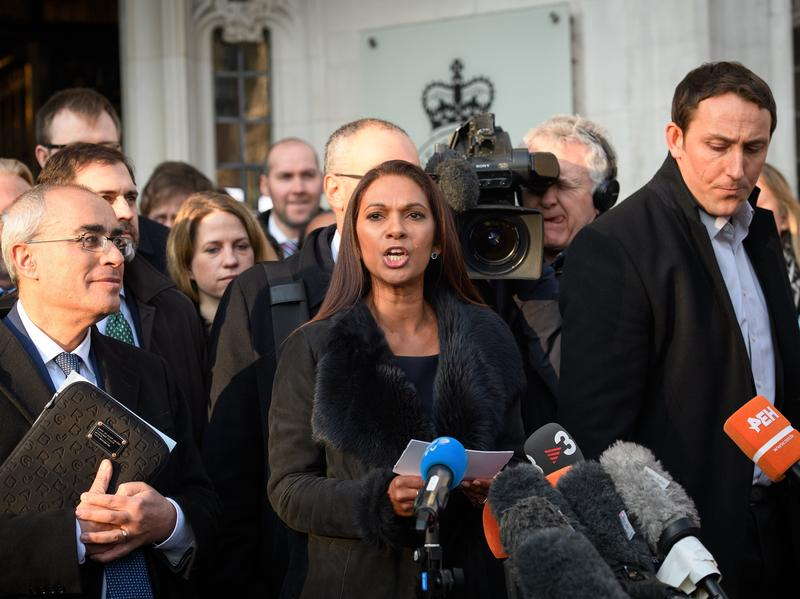 """""""Only Parliament can grant rights to the British people — and only Parliament can take them away,"""" says lead claimant Gina Miller, seen here speaking outside the Supreme Court in London on Tuesday. Judges sided with Miller in her case seeking to block Prime Minister Theresa May's plan to trigger Brexit."""