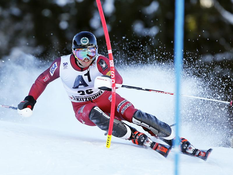 Robby Kelley, seen here during a race in Kitzbuehel, Austria, this weekend, gained some new fans for refusing to quit in another World Cup slalom race Tuesday night.