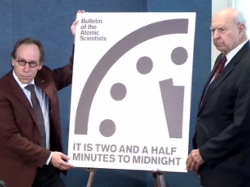 The Bulletin of the Atomic Scientists announced during a news conference Thursday that its advisory group is moving the Doomsday Clock 30 seconds closer to midnight.