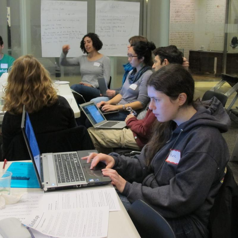 A volunteer works to preserve scientific data during a Data Refuge hackathon at the University of Pennsylvania, Jan. 14, 2017. (Susan Phillips / StateImpact Pennsylvania)