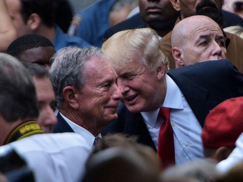President Trump and former New York City Mayor Michael Bloomberg, seen here at the National 9/11 Memorial on Sept. 11, 2016, have taken similar actions regarding their wealth and holding office.