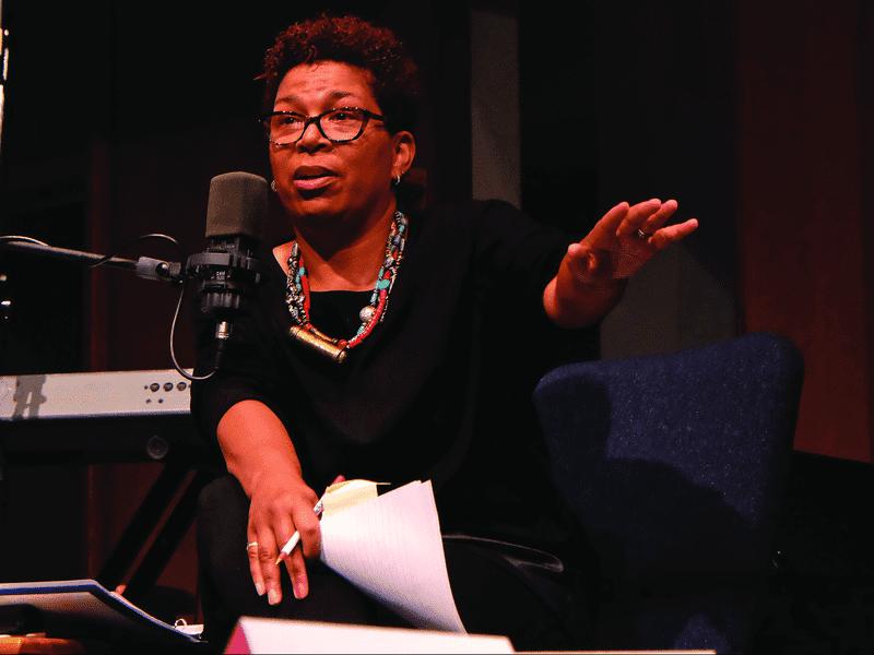 Host Michel Martin in Ferguson, Mo., at Wellspring Church in August 2014.