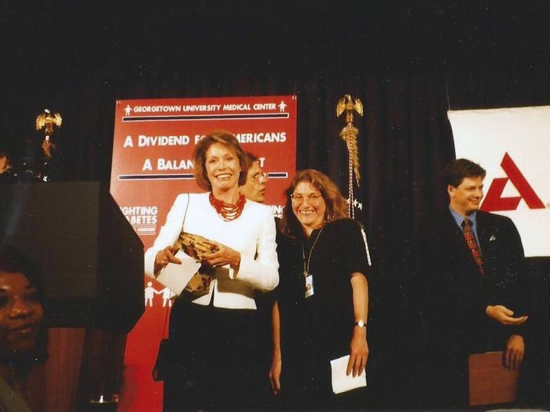 Author Miriam E. Tucker, right, with Mary Tyler Moore in August 1997.