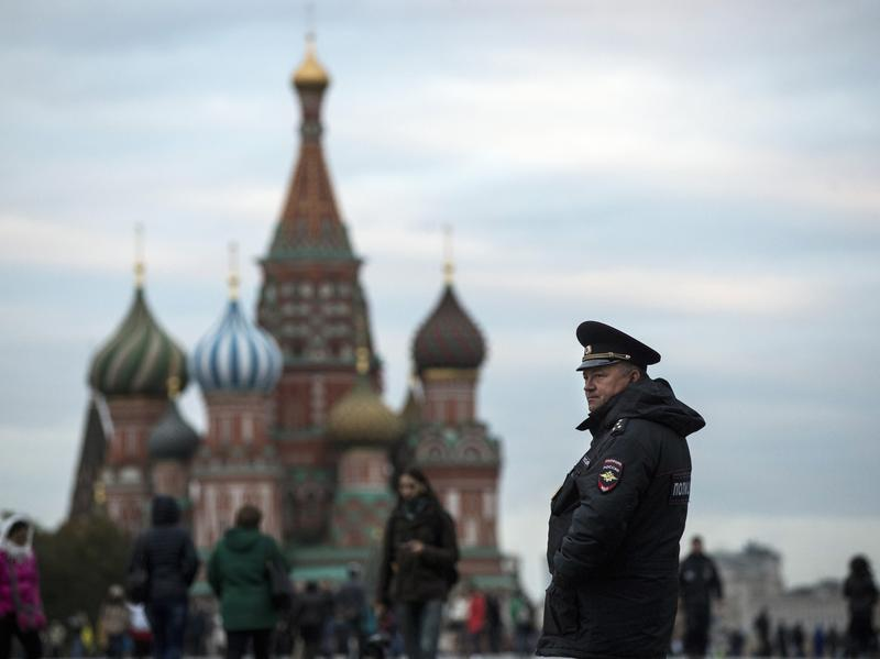 A police officer stands guard in Moscow's Red Square.
