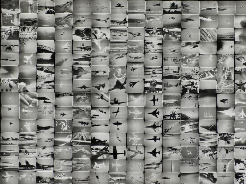 "An exhibition at The Getty Center in Los Angeles features some 200 works of news-inspired art, dating back to the 1960s. Above,<em> The Air Power of the World</em> from Masao Mochizuki's 1976 ""Television"" series."