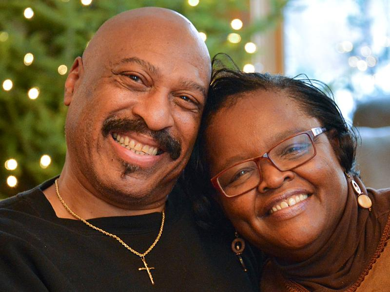 "Ed Roy, 63, and Mary Johnson-Roy, 64, were married in 2015. Both had sons die. ""I'm grateful to have someone there that has experienced the same thing I have,"" Mary tells Ed at StoryCorps in Minneapolis."