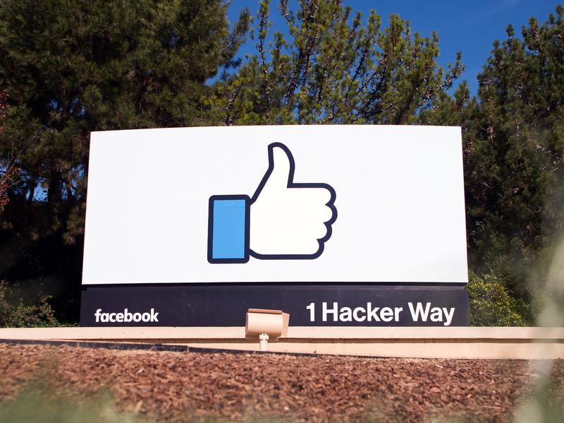 A sign near the entrance of the Facebook campus in Menlo Park, Calif.
