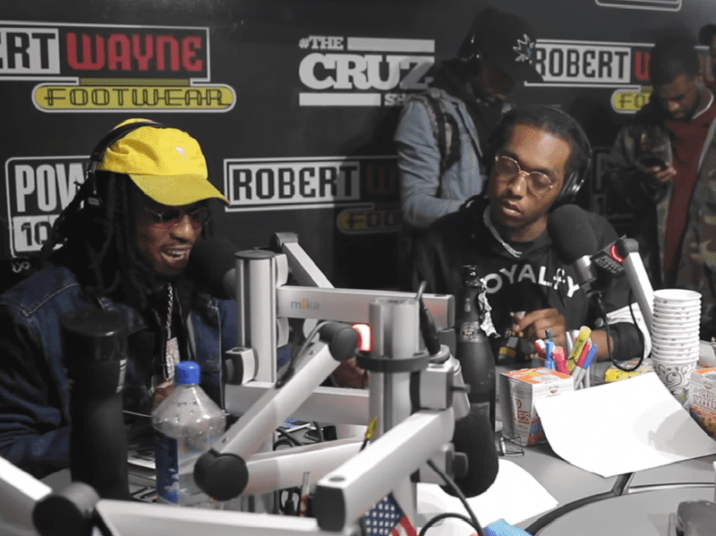 Migos rappers Quavo, Takeoff and Offset at the studios of Power 106 on Monday.