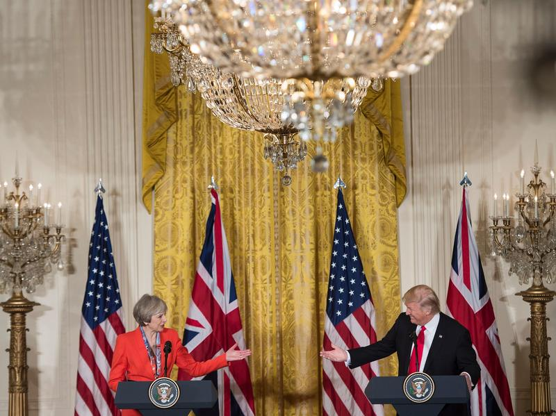 President Trump and British Prime Minister Theresa May hold a joint press conference at the White House on Friday.