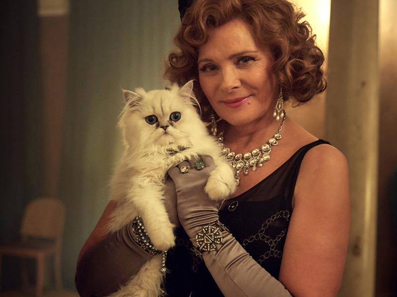 Kim Cattrall as socialite — and murder victim — Emily French in <em>The Witness for the Prosecution</em>.