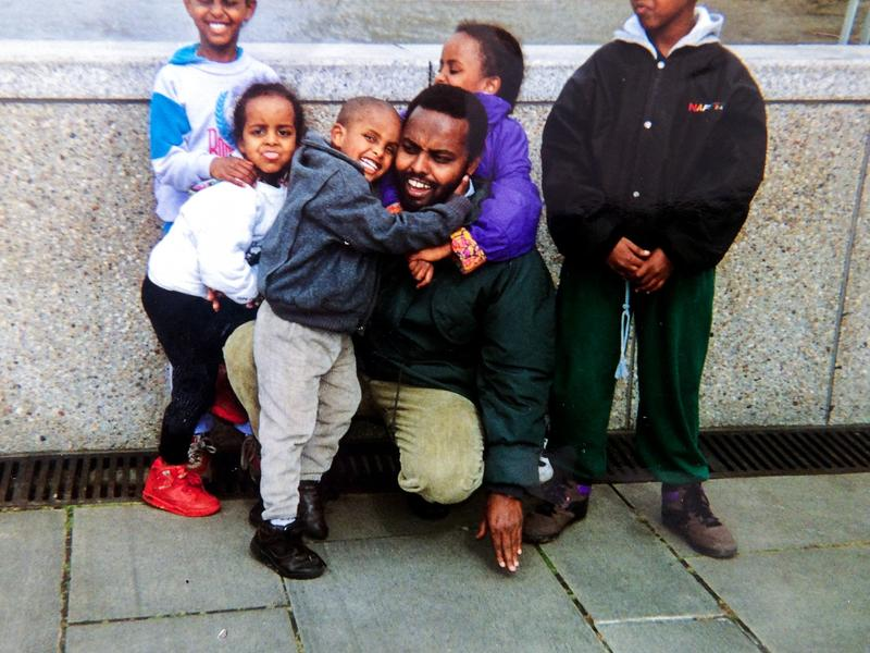 Mohamud Nur and his children spent years in London before he returned to Somalia. The above photo is from 1993.
