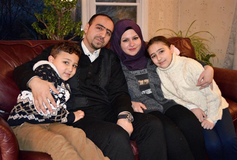 Hussam and Hazar and their children Mohammed and Layan were one of the first two Syrian families to be resettled in Rutland. They may be the last to join the community, if President Trump halts or scales back U.S. refugee policy. (Nina Keck/VPR)