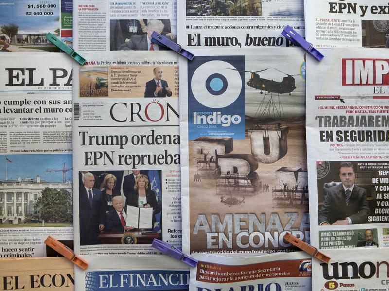 Newspapers in Mexico City on Thursday featured headlines about President Trump's proposed border wall and his insistence that Mexico will foot the bill.