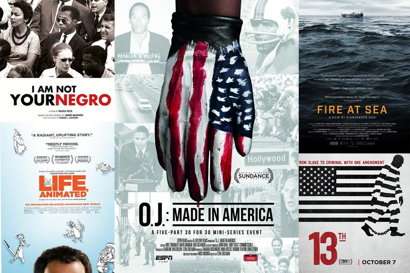 The posters of the nominated documentary film features in 2017. (Courtesy the Studios)