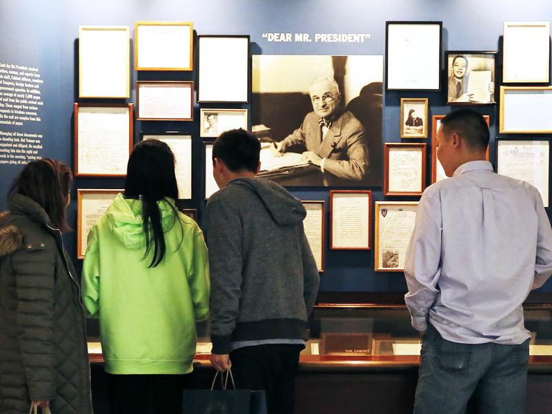 A family from California visits the Harry S. Truman Presidential Library and Museum in Independence, Mo.