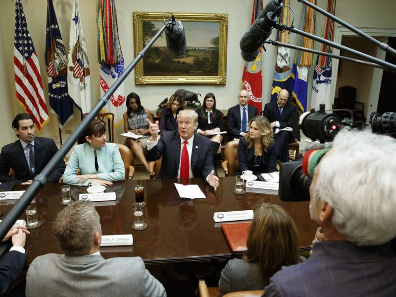 President Trump speaks during a meeting with business leaders in the Roosevelt Room of the White House on Monday.