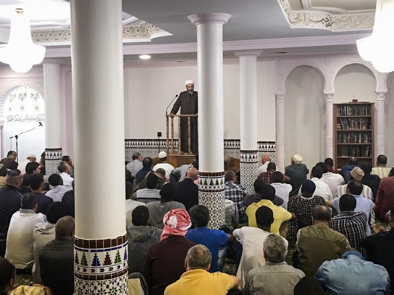 Tareq Oubrou, an imam in Bordeaux, delivers a sermon in French and Arabic at the city's grand mosque. Most imams in France speak only in Arabic.