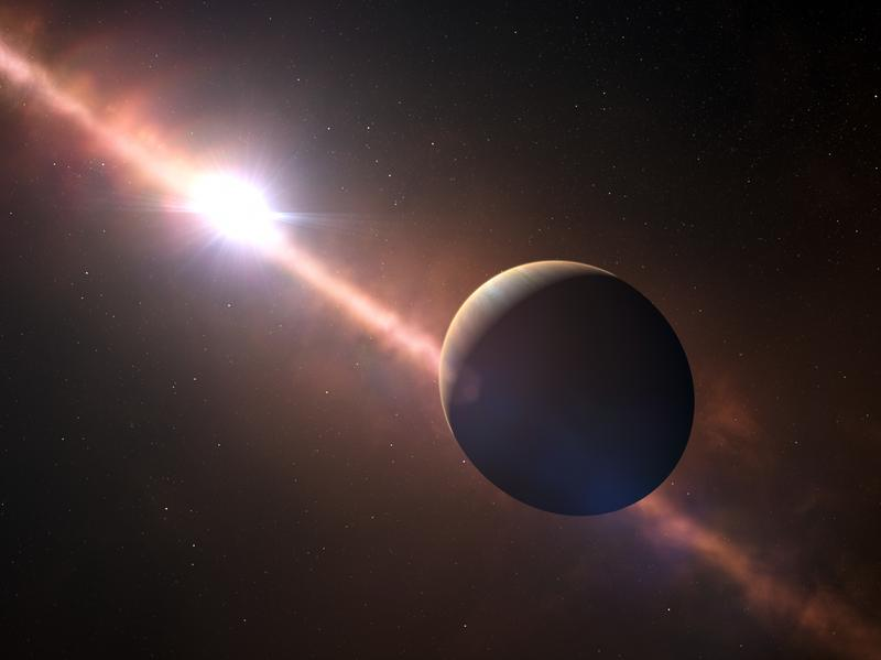 This artist's view shows an exoplanet orbiting the young star Beta Pictoris. The exoplanet has an eight-hour day — and a much faster rotation than any planet in the solar system.