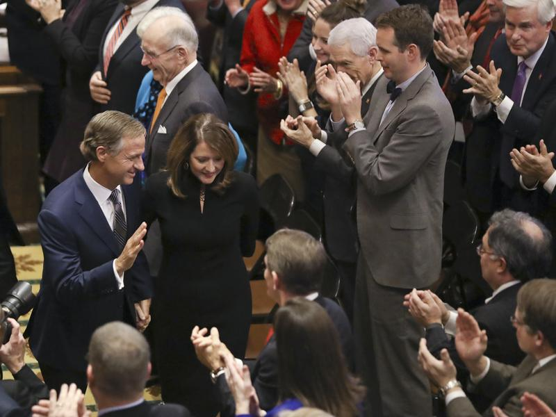 Gov. Bill Haslam and his wife, Crissy, leave the House chamber after Haslam gave his annual State of the State address in Nashville on Monday. Haslam is looking to expand a free community college program to include adults.