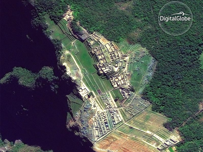 Satellite imagery of Machu Pichu in Peru, taken in June 2016.
