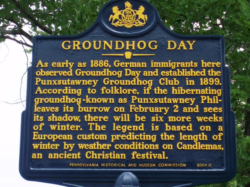A marker for Groundhog Day describes the process.