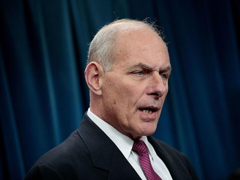 Secretary of Homeland Security John Kelly answers questions during a news conference on Tuesday in Washington, D.C.