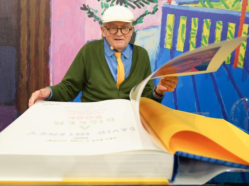 David Hockney looks through <em>A Bigger Book, </em>Taschen's massive collection of more than 60 years of his work.
