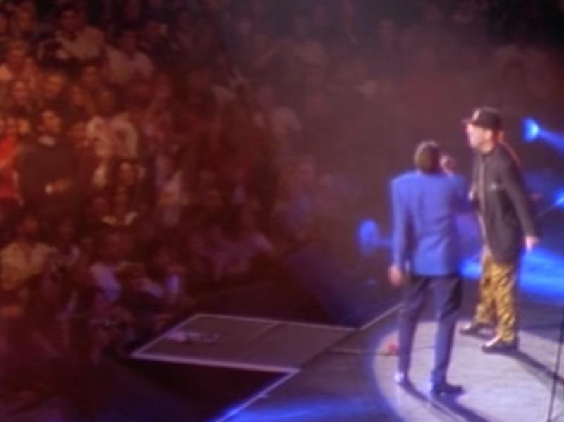 George Michael and Elton John perform at Wembley Stadium in 1991.