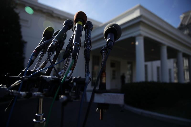 Microphones set up on a stand in front of the West Wing of the White House on Jan. 31, 2017 in Washington. (Alex Wong/Getty Images)
