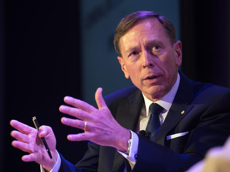 Retired Gen. David Petraeus warned the U.S. not to be complacent in protecting its place in the world order Wednesday. He's seen here in a photo from last summer.