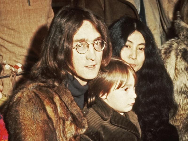 John Lennon with Yoko Ono and son Julian at a 1968 press conference at Internel Studios in Stonebridge Park, Wembley.